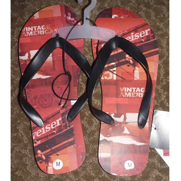 9d9d1dc4fcc Mens Adult BUDWEISER beer Flip Flops Sandals NWT